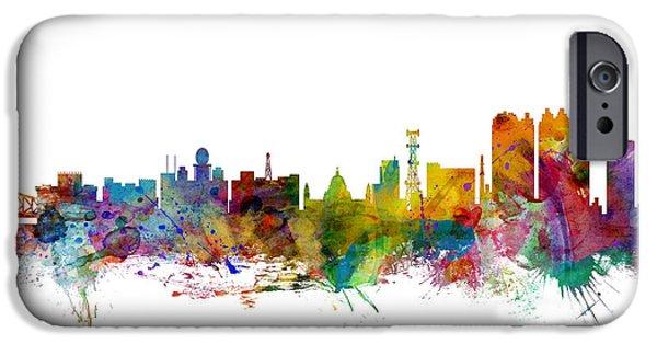 West Digital Art iPhone Cases - Calcutta Kolkata India Skyline iPhone Case by Michael Tompsett