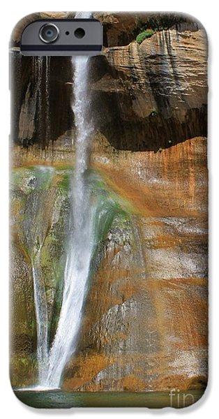 Slickrock iPhone Cases - Calf Creek Falls 2 iPhone Case by Tonya Hance