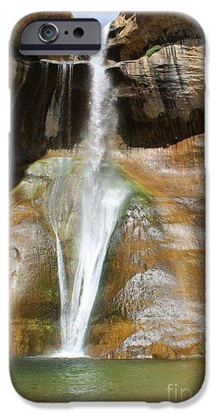 Slickrock iPhone Cases - Calf Creek Falls 3 iPhone Case by Tonya Hance