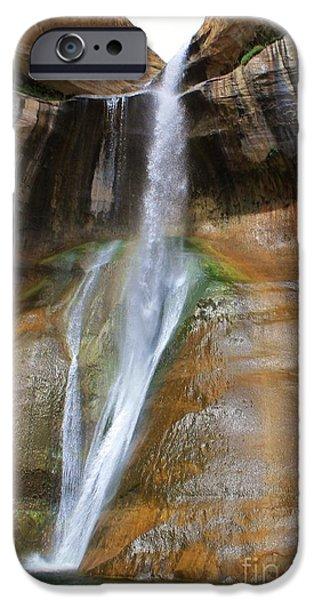 Slickrock iPhone Cases - Calf Creek Falls 4 iPhone Case by Tonya Hance