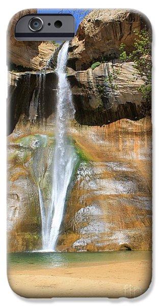 Slickrock iPhone Cases - Calf Creek Falls iPhone Case by Tonya Hance