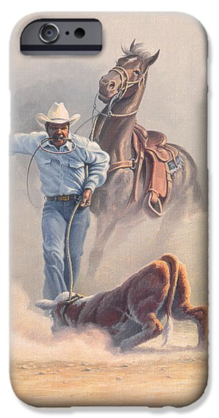 Cowboy iPhone Cases - Calf Roper iPhone Case by Paul Krapf