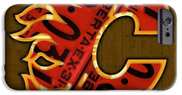 Hockey Mixed Media iPhone Cases - Calgary Flames Hockey Team Retro Vintage Logo Recycled Alberta Canada License Plate Art  iPhone Case by Design Turnpike