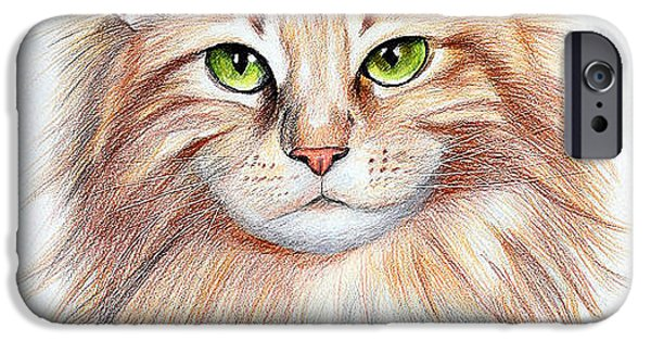 Animal Drawings iPhone Cases - Calico Cat iPhone Case by Lena Auxier