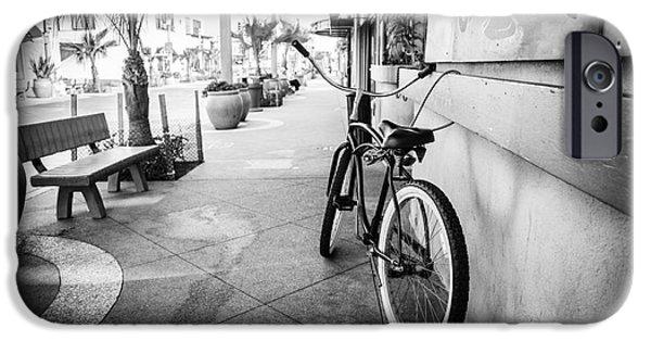Main Street iPhone Cases - California Beach Cruiser Bike Black and White Photo iPhone Case by Paul Velgos