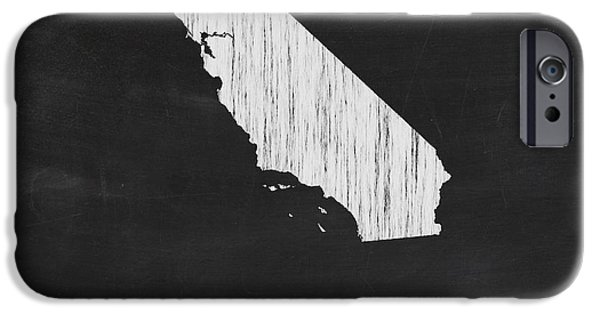 California State Map iPhone Cases - California Chalk State Map iPhone Case by Finlay McNevin
