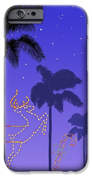Card Digital Art iPhone Cases - California Christmas Palm Trees iPhone Case by Mary Helmreich