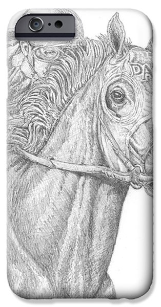 Horse Racing Drawings iPhone Cases - California Chrome iPhone Case by Sue Bonnar