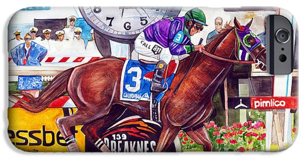Horse Racing Drawings iPhone Cases - California Chrome wins the Preakness Stakes iPhone Case by Dave Olsen