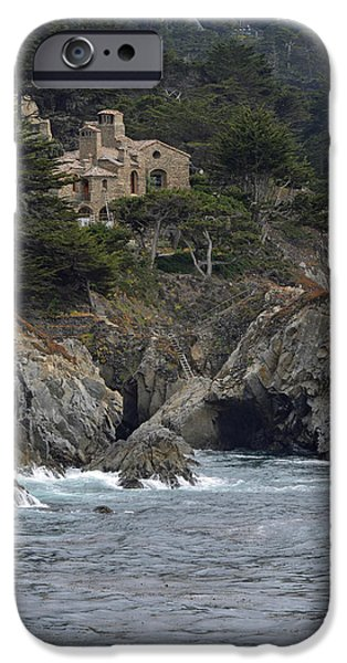 Point Lobos State iPhone Cases - California Cliffside Ocean House iPhone Case by Bruce Gourley