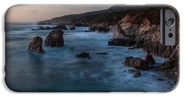 Big Sur Beach iPhone Cases - California Coast Dusk iPhone Case by Mike Reid