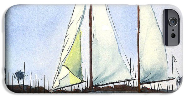 Sailboat Ocean Mixed Media iPhone Cases - California Dreamin II iPhone Case by Kip DeVore