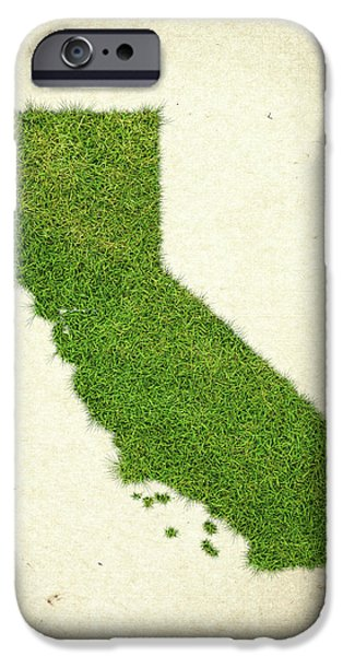 Waste iPhone Cases - California Grass Map iPhone Case by Aged Pixel