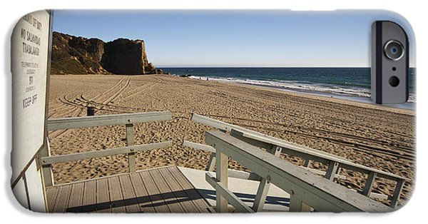Coastal Places iPhone Cases - California Lifeguard shack at Zuma Beach iPhone Case by Adam Romanowicz