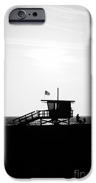 Hut iPhone Cases - California Lifeguard Stand in Black and White iPhone Case by Paul Velgos