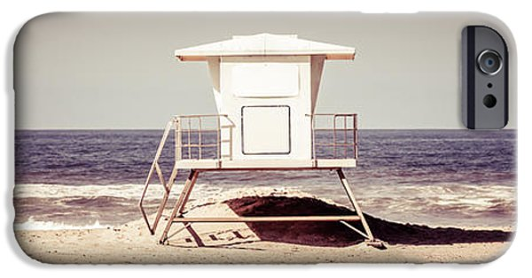 Pacific Ocean Prints iPhone Cases - California Lifeguard Tower Retro Panoramic Picture iPhone Case by Paul Velgos