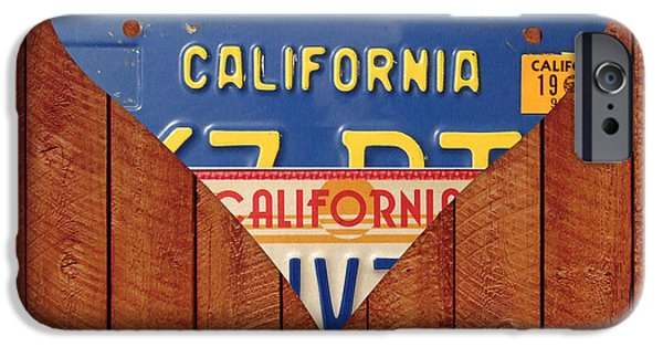 California Mixed Media iPhone Cases - California Love Heart License Plate Art Series on Wood Boards iPhone Case by Design Turnpike