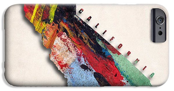 California State Map iPhone Cases - California Map Art - Painted Map of California iPhone Case by World Art Prints And Designs