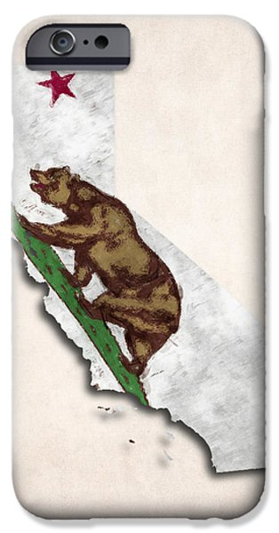 Recently Sold -  - Nation iPhone Cases - California Map Art with Flag Design iPhone Case by World Art Prints And Designs