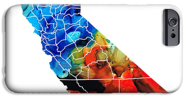 California Mixed Media iPhone Cases - California - Map Counties by Sharon Cummings iPhone Case by Sharon Cummings