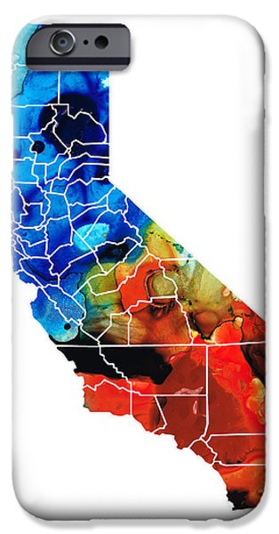 California - Map Counties by Sharon Cummings iPhone Case by Sharon Cummings