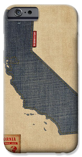 Geography iPhone Cases - California Map Denim Jeans Style iPhone Case by Michael Tompsett