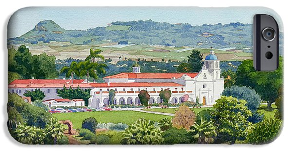 Historic Site Paintings iPhone Cases - California Mission San Luis Rey iPhone Case by Mary Helmreich
