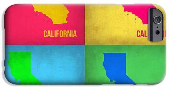 California Map iPhone Cases - California Pop Art Map 1 iPhone Case by Naxart Studio