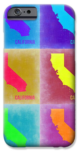 World Map Poster Digital Art iPhone Cases - California Pop Art Map 2 iPhone Case by Naxart Studio