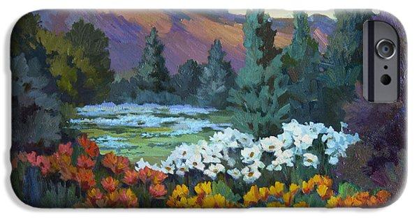 Santa Barbara iPhone Cases - California Poppies at Santa Barbara iPhone Case by Diane McClary