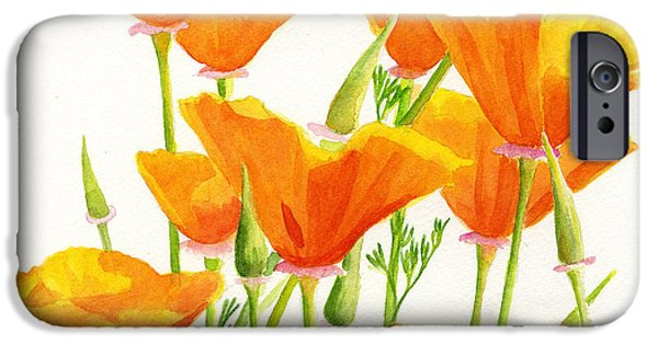 Botanical iPhone Cases - California Poppies Square Design iPhone Case by Sharon Freeman
