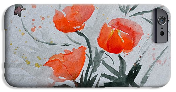 Splashy Paintings iPhone Cases - California Poppies Sumi-e iPhone Case by Beverley Harper Tinsley