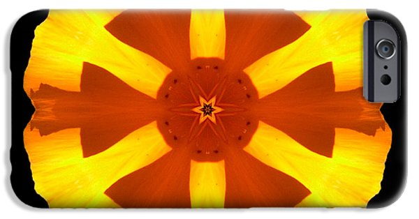 David J Bookbinder iPhone Cases - California Poppy Flower Mandala iPhone Case by David J Bookbinder