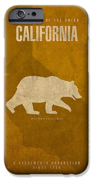 California Mixed Media iPhone Cases - California State Facts Minimalist Movie Poster Art  iPhone Case by Design Turnpike