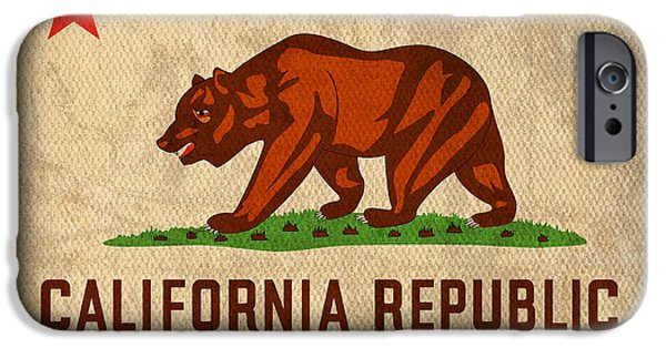States Mixed Media iPhone Cases - California State Flag Art on Worn Canvas iPhone Case by Design Turnpike