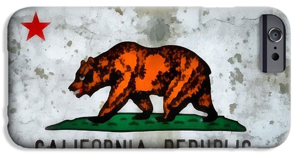 San Francisco Cali iPhone Cases - California State Flag Weathered And Worn iPhone Case by Dan Sproul