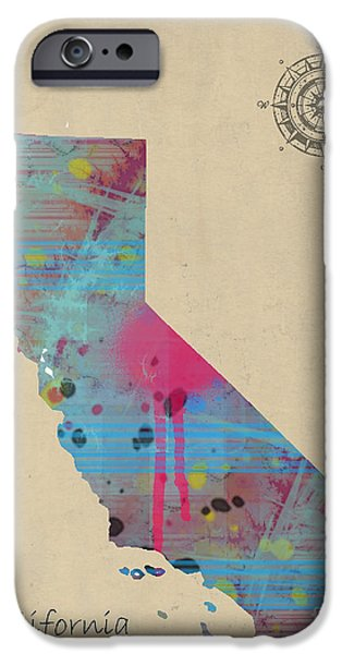 California State Map iPhone Cases - California State Map iPhone Case by Bri Buckley