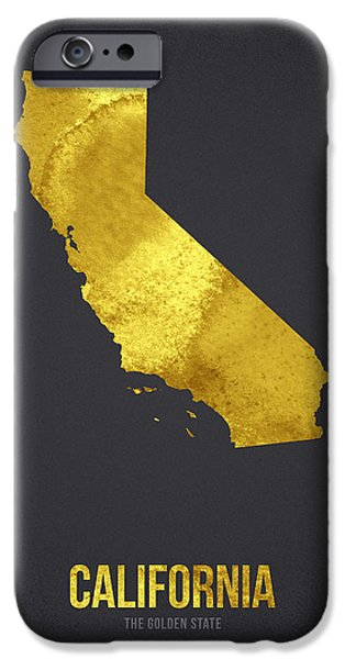 California Mixed Media iPhone Cases - California The Golden State iPhone Case by Aged Pixel