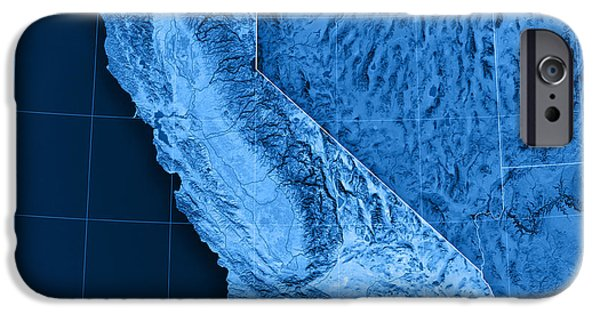 Geography iPhone Cases - California Topographic Map iPhone Case by Frank Ramspott