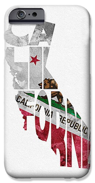 United States iPhone Cases - California Typographic Map Flag iPhone Case by Ayse Deniz
