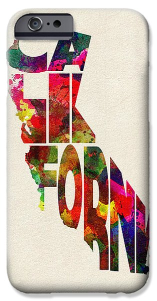 California Map iPhone Cases - California Typographic Watercolor Map iPhone Case by Ayse Deniz