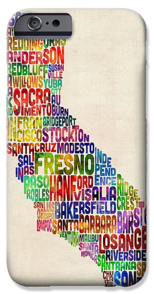 States iPhone Cases - California Typography Text Map iPhone Case by Michael Tompsett