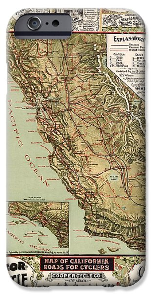 Cycling Drawings iPhone Cases - California Vintage Antique Map Cycling iPhone Case by World Art Prints And Designs