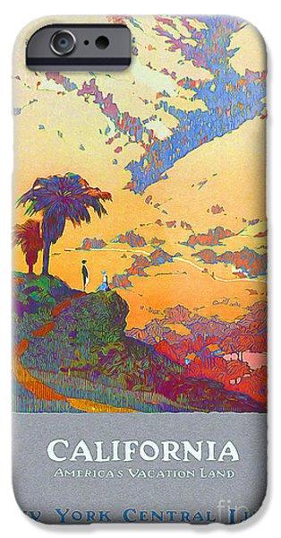 Fashion Design Art iPhone Cases - California Vintage Travel Poster iPhone Case by Jon Neidert