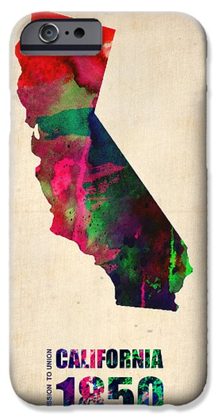Decoration iPhone Cases - California Watercolor Map iPhone Case by Naxart Studio