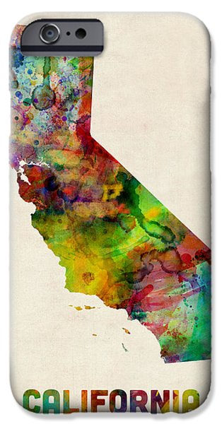 Geography iPhone Cases - California Watercolor Map iPhone Case by Michael Tompsett