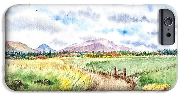 Mountain View iPhone Cases - Californian Landscape Saint Johns Ranch of Mountain Shasta County iPhone Case by Irina Sztukowski