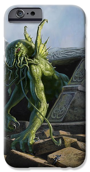 Horror Digital Art iPhone Cases - Call of Cthulhu iPhone Case by Armand Cabrera