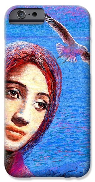 Spiritual Portrait Of Woman iPhone Cases - Call of the Deep iPhone Case by Jane Small