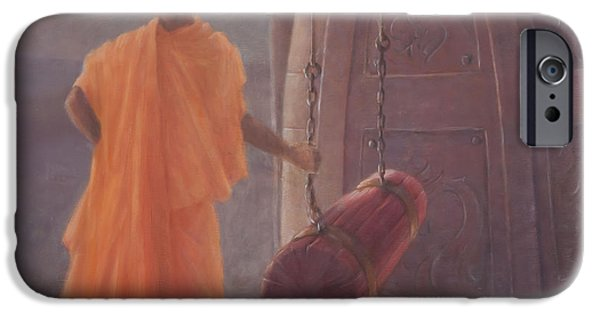 Buddhism iPhone Cases - Call To Prayer, 2012 Acrylic On Canvas iPhone Case by Lincoln Seligman